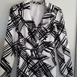 Black and white light weight dress coat